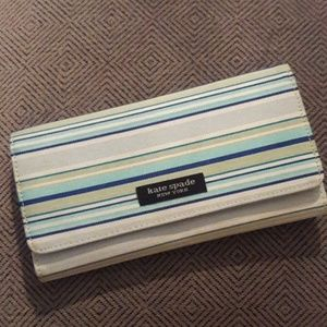 Kate Spade New York striped blue and green wallet